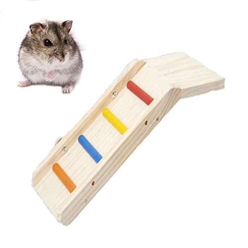 Wood Hamster Climbing Ladder, Hamster Ladder Bridge Platform for Guinea Pigs Hedgehogs Gerbil Dwarf Mouse and Cage Accessories