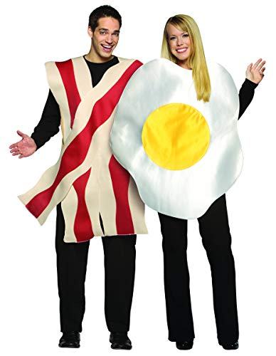 Pancake Halloween Costume (Rasta Imposta Bacon and Eggs Couples Costume, White/Brown, One)