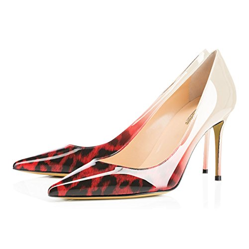 Leopard Sexy Stiletto Pointed Toe Modemoven Business Women's 85mm Heels on Red Office Shoes Slip High Pumps WZWRP4