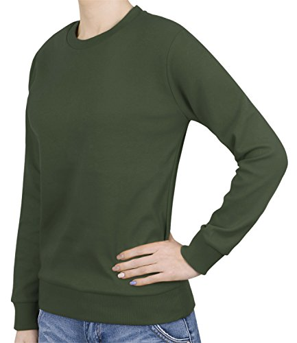 Solid L/s Tee - ililily Solid Color Basic Soft Cotton Sweatshirt Crew Neck Pullover T-Shirt, Moss Green, US-L