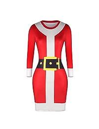 FarJing Christmas Women Dress Casual Long Sleeve Print Stretchy Skinny Bottom Dress