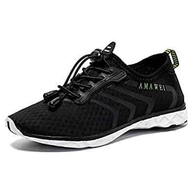 AMAWEI Boys and Girls Slip-on Amphibious Water Shoes Kids Quick-Dry Lightweight Barefoot Summer Beach Shoes Athletic Sneakers Aqua Sports Shoes for Swimming Black Size: 1 Little Kid