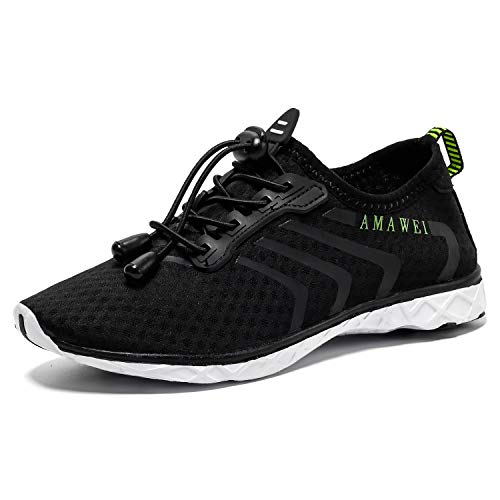 AMAWEI Boys and Girls Slip-on Amphibious Water Shoes Kids Quick-Dry Lightweight Barefoot Summer Beach Shoes Athletic Sneakers Aqua Sports Shoes for Swimming,Diving (W13,Black,37)