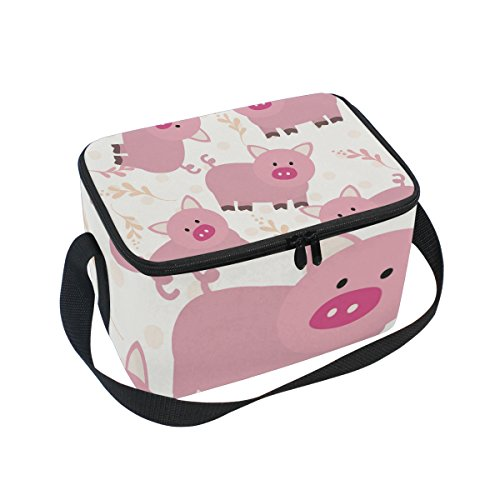 Saobao Reusable Insulated Lunch Box Tote Bag Pink Pig Handbag with Shoulder Strap for School work Office Travel Outdoor