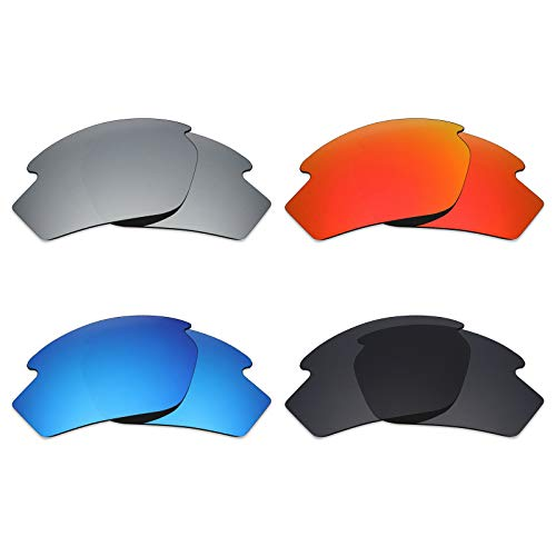 Mryok 4 Pair Polarized Replacement Lenses for Rudy Project Rydon Sunglass - Stealth Black/Fire Red/Ice Blue/Silver ()