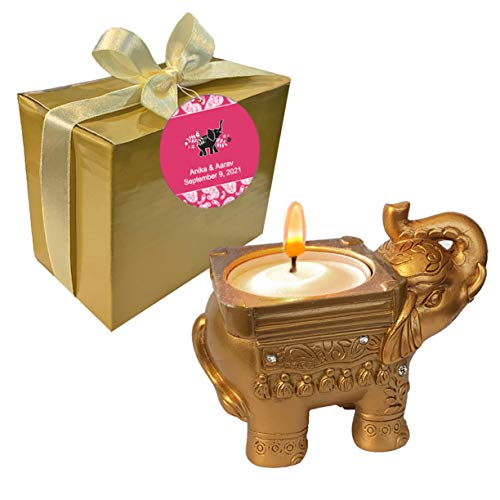 Fashioncraft,Wedding Party Bridal Shower Favors, Antique Gold Good Luck Elephant Candle Holders, Set of 24, Personalized Custom Pink Tags