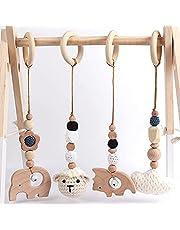 EXQULEG 4 st leksaksbåge i trä för spädbarn, bebisgymnastikleksak, bitring för bebisar, hängande lektrapets, babygymnastik aktivitetsleksak (vit)