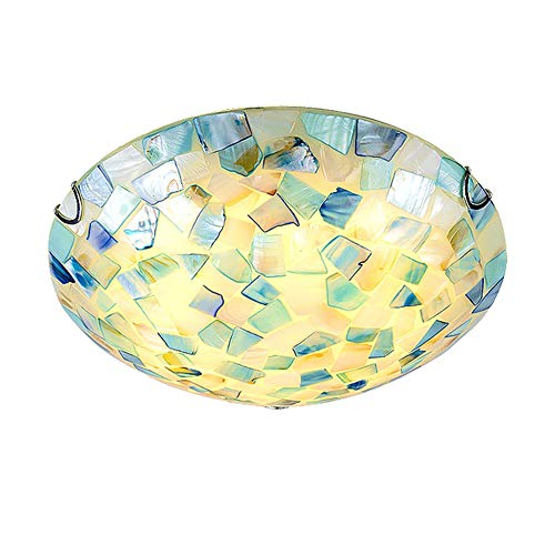 VinDeng Glass Blue Ceiling Light Flush Mount, E26 2-Lights Tiffany Style Ceiling lamp with Shell Decor Mediterranean Round Light Fixture for Bedroom Dining Room Restaurant-30CM