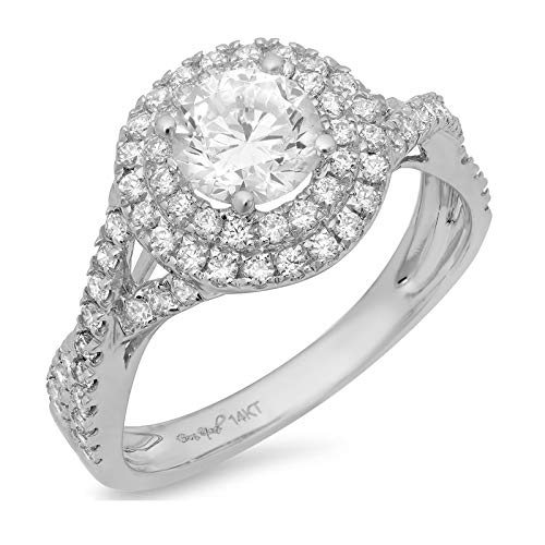 1.40 ct Round Cut Solitaire double halo Best Quality Moissanite Ideal VVS1 D & Simulated Diamond Engagement Promise Statement Anniversary Bridal Wedding accent Ring Solid 14k White Gold, Size 8.25 (Round Moissanite Double Prong)