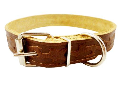 "Tooled Genuine Leather Dog Collar, Medium. Fits 13""-17"" Neck"