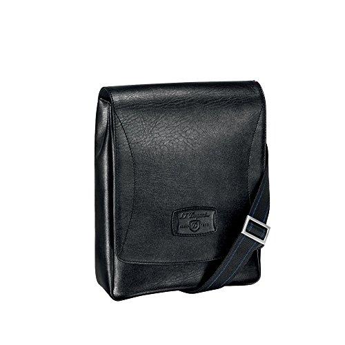 S.T Dupont D-181211 Line D Soft Diamond Leather Cross Shoulder Bag with Magnetic Flap - Black
