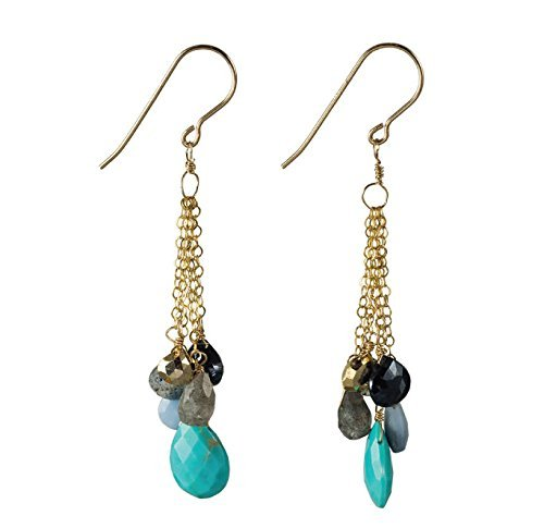 Turquoise and Sapphire Waterfall Fading Chain Dangles on 14K Gold Filled French Earwire (Collection Waterfall 14k)