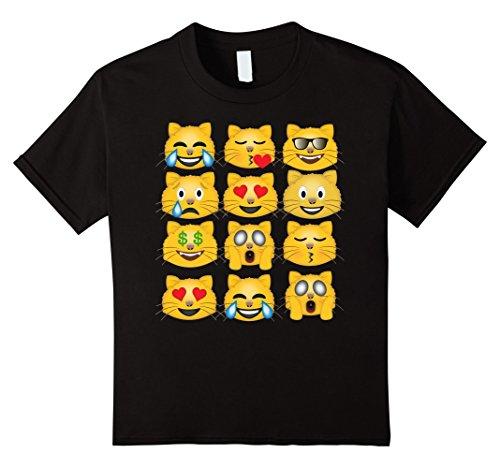 Kids Funny Cat Emoji T-Shirt 8 Black (Cat In The Hat T Shirts Adults)