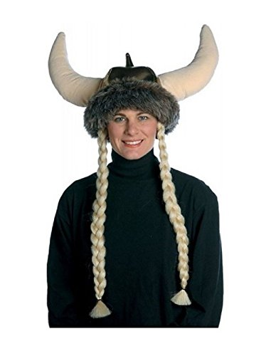 Gold Space Viking Warrior Helmet Hat With Braids Costume Accessory Adult Womens