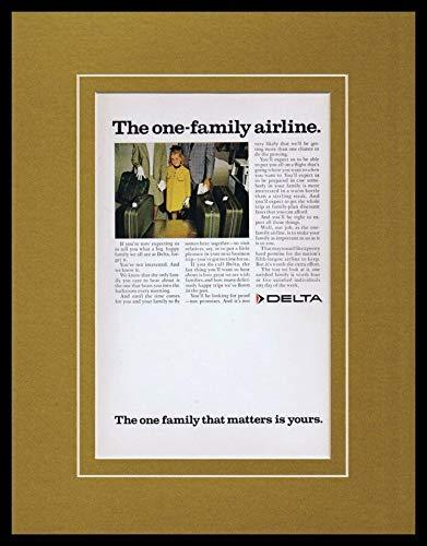 1968 Delta Airlines 11x14 Framed ORIGINAL Vintage - Delta Airlines 11