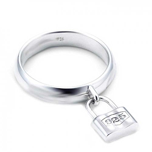 (Bling Jewelry Sterling Silver Lock Charm Padlock Style Ring Clear 8*)