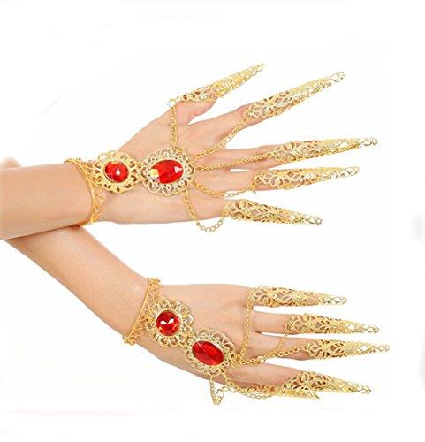 Flyusa 2 Pcs Belly Dance Bracelets Wristband Gypsy Jewelry Wrist Ankle Cuffs Nail Wrap Hand Decoration ,Halloween Costume Accessory