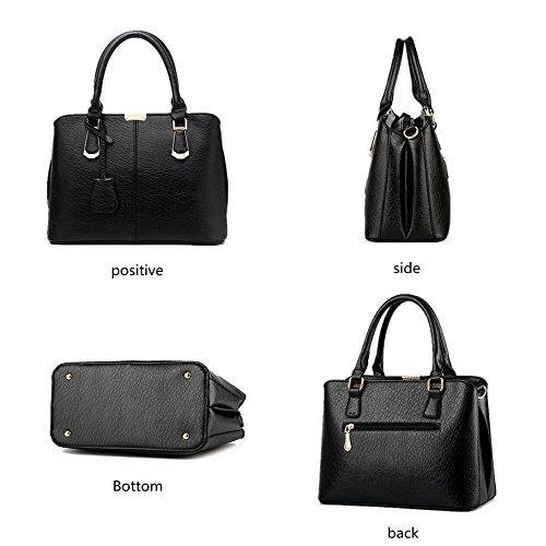 Pahajim women handbags PU leather top handle satchel tote purse shoulder bags (wine red) by Pahajim (Image #1)