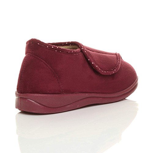 Ajvani Womens Ladies Flat Diabetic Orthopaedic Adjustable Strap Memory Foam Soft Booties Slippers Size Burgundy JCrJSX