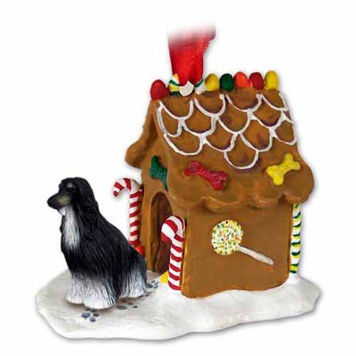 (NEW Afghan Hound Black & White Ginger Bread House Christmas Ornament)