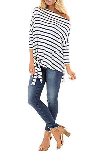 Blouse T JackenLOVE 4 Chemisiers Tops et Hauts Oblique Rayure Printemps pour Automne Manches Shirts Jumper Femmes Casual 3 Fashion paule Bleu Tee HSUrHqwn
