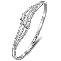 Dawanza-Valentine Gifts Bracelet for Women Gold Plated-Linear Design White-Fashionable Jewelry