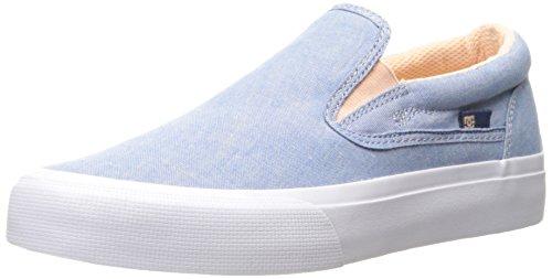 DC Women's Trase Slip-on TX SE Skateboarding Shoe, Blue/White, 8 B US