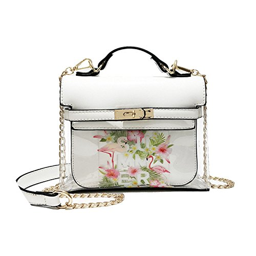 pattern shoulder Summer White flamingo slung bag fashion transparent printed 2018 single qpRwITTn