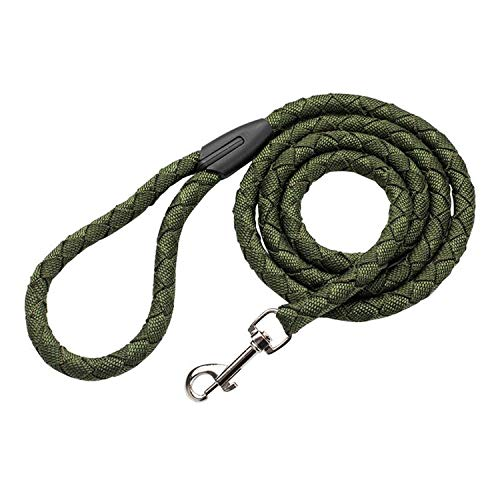 ZZmeet Dog Leash Pet Supplies Nylon Braided Traction Rope Easy to Control Non-Stretch Pet Rope Training Leash Dog Walking Running Leads,Green,M