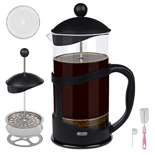 Portable French Press Coffee Maker with Stainless Steel Triple Filter and Heat Resistant Glass, Hand-pressed Filter Tea…