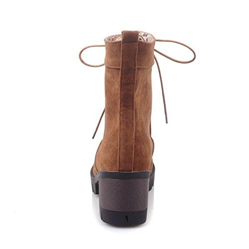 BalaMasa Ladies Platform Gear Bottom Chunky Heels Frosted Boots Brown OK4L1B