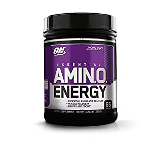 OPTIMUM NUTRITION ESSENTIAL AMINO ENERGY, Concord Grape, Preworkout and Essential Amino Acids with Green Tea and Green Coffee Extract, 65 Servings