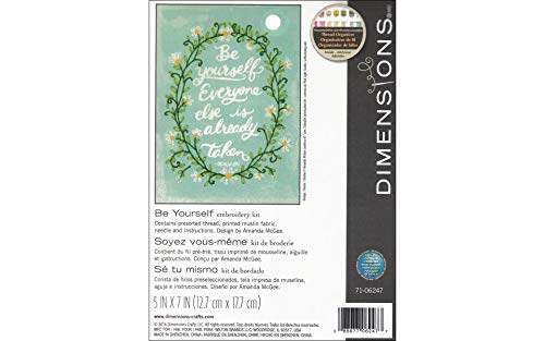 Dimensions 'Be Yourself' Crewel Embroidery Kit for Beginners, 5'' x 7''