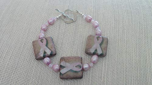 Breast Cancer Awareness Decoupage Ribbon Pearl Bracelet Sterling Clasp