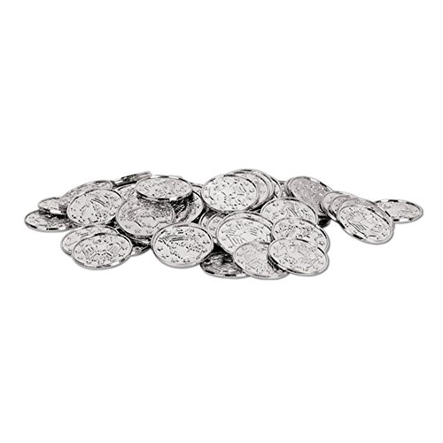 SILVER Plastic Pirate Coin Doubloons