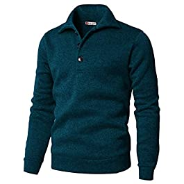 H2H Mens Casual Slim Fit Pullover Sweatshirts Knitted T-Shirts Thermal Napping Inside of Various Styles