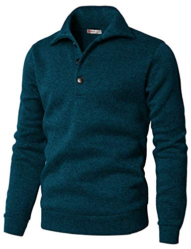- H2H Men's Slim Fit Turtleneck Basic Knit Sweater with Buttons Bluegreen US 3XL/Asia 4XL (CMTTL091)