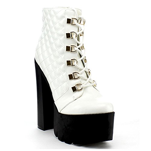 Up Color ROCKER17 Chunky 6 Ankle Zipper Round Boot Side Womens Size WHITE BUMPER Platform Toe Lace wXxR1f77q