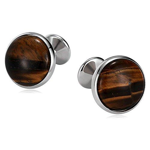 (Aooaz Mens Stainless Steel Cufflinks Round Tuxedo Shirts Brown Business Wedding Shirt 1.7x1.7cm)