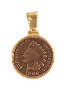 Indian Head Penny 14k Gold Filled Coin Edge Coin Bezel Pendant