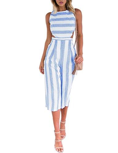 VintageRose Women's Stripe High Waist Wide Leg Long Pants Jumpsuits Rompers White XL