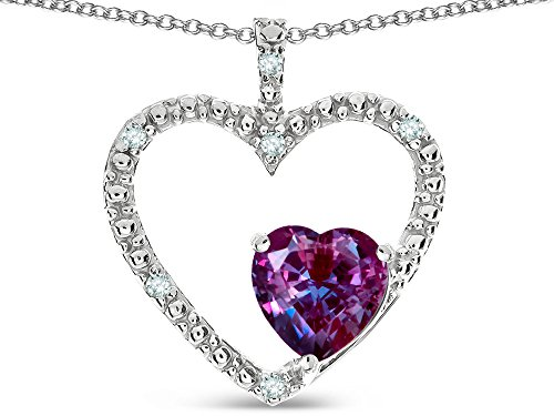 Slide Alexandrite (Star K Open Heart Pendant Necklace with 6mm Heart Shaped Simulated Alexandrite Stone 14 kt White Gold)