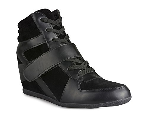 Twisted Women's Malika Canvas and Faux Leather Sneaker Wedge - MALIKA01 Black, Size - Canvas Leather Sneakers