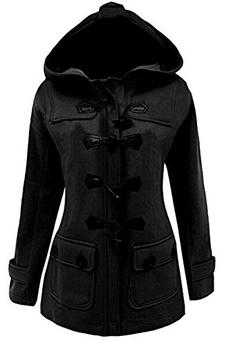 Womens Classic Pea Coat Jacket Wool Blended Plus Size Hoodie Outwear XXL Black (Winter Pea Coats For Women)