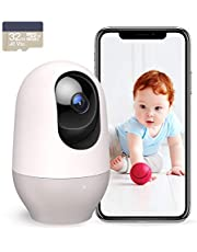 Nooie Baby Monitor with Camera, WiFi Pet Camera Indoor, 360-degree Wireless IP Baby Camera, 1080P Home Security Camera, Motion Tracking, IR Night Vision, Works with Alexa, Two-Way Audio, Motion & Sound Detection, 32GB SD Card