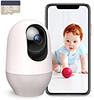 Nooie Baby Monitor with Camera, WiFi Pet Camera Indoor, 360-degree Wireless IP Baby Camera, 1080P Home Securit