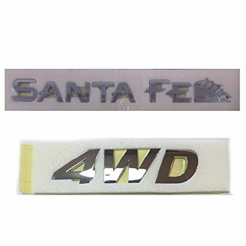 Logo Santa - Rear Trunk Santa Fe & 4WD Logo Emblem for 2001-2006 Hyundai Santa Fe OEM Parts