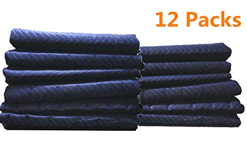 12Pack Moving Packing Blankets 82'' x 72'' Heavy Duty Professional Quality Move Pack Furniture Pads Navy Blue Color For Storage Camping Office Soundproof Protect Your Furniture During Move (40 LB/Doz) by Elysian (Image #8)