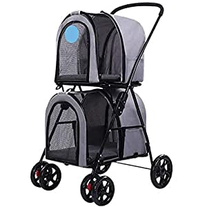 Pet stroller Double Pet Stroller,Four-Wheeled Pet Stroller,Pet Stroller, Pet Stroller,for Small and Medium Pets (Color : Grey)