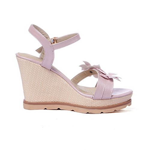 AmoonyFashion Womens Solid PU High-Heels Open Toe Buckle Sandals Pink tNOMkTd4t0